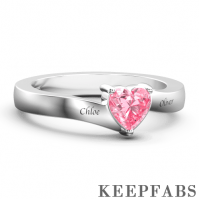 Personalized Heart Birthstone Promise Ring with Engraving Silver