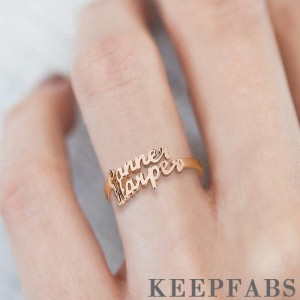 Two Name Ring Rose Gold Plated Silver