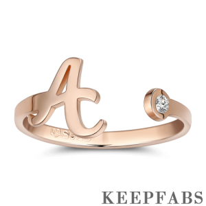 Initial Personalized Birthstone Name Ring