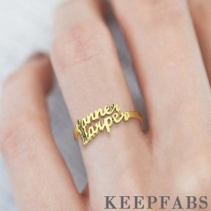 Two Name Ring 14K Gold Plated Silver