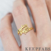 Three Name Ring 14K Gold Plated Silver
