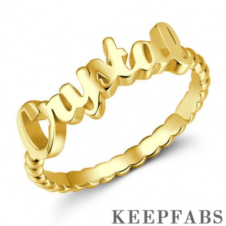 Name Rings, Personalize Gift For Her 14K Gold Plated - Golden