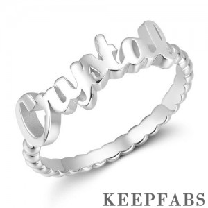 Name Rings, Personalize Gift For Her Platinum Plated - Silver