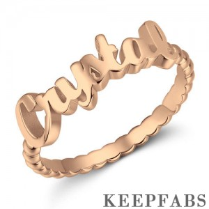 Name Rings, Personalize Gift For Her Rose Gold Plated