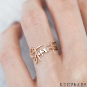 Name Ring, Personalized Handwriting Ring Special Gift Rose Gold Plated