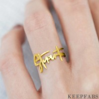 Name Ring, Personalized Handwriting Ring Special Gift 14k Gold Plated - Golden