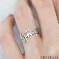 Name Ring, Personalized Handwriting Ring Special Gift Platinum Plated - Silver