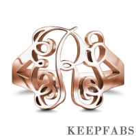 Monogram Ring Rose Gold Plated Silver