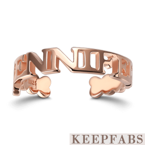 Name Ring Rose Gold Plated Silver