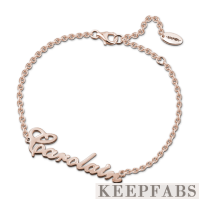 Personalized Name Bracelet Rose Gold Plated Silver - Length Adjustable