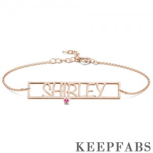 Hollow Carved Bar Name Bracelet with Custom Birthstone Rose Gold Plated