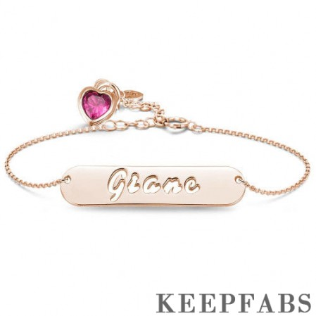 Hollow Carved Bar Name Bracelet with Custom Birthstone, Unique Gift Rose Gold Plated