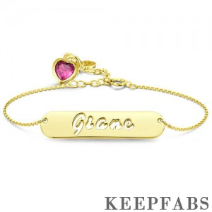 Hollow Carved Bar Name Bracelet with Custom Birthstone, Unique Gift 14K Gold Plated - Golden