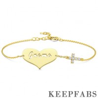 Engraved Bracelet Hollow Letter with Cross 14K Gold Plated - Golden