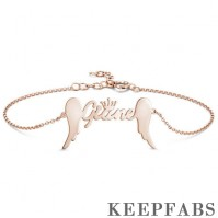 Name Bracelet, Personalized Crown Name Bracelet with Angel Wings Rose Gold Plated