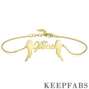 Name Bracelet, Personalized Crown Name Bracelet with Angel Wings 14k Gold Plated - Golden