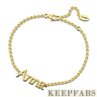 Personalized Name Bracelet 14k Gold Plated Silver - Length Adjustable