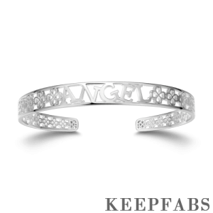 Personalized Hollow Name Bangle Silver