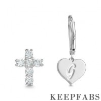 Initial Drop Earrings, Asymmetry Earrings Hollow Letter with Cross Platinum Plated - Silver