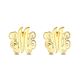 Monogram Earrings Gold Plated Silver