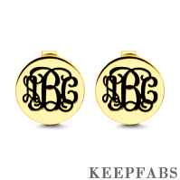Engraved Monogram Earrings Gold Plated Silver