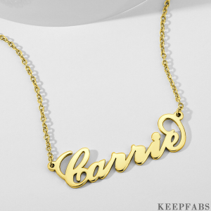 14K Gold Plated Carrie Name Necklace Copper