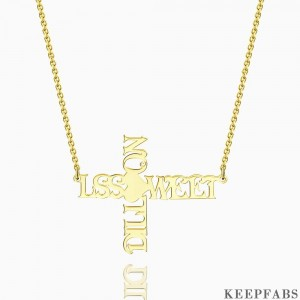 Cross Two Name Necklace 14k Gold Plated Silver