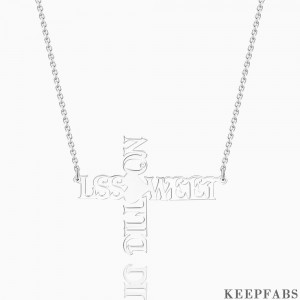 Cross Two Name Necklace Silver