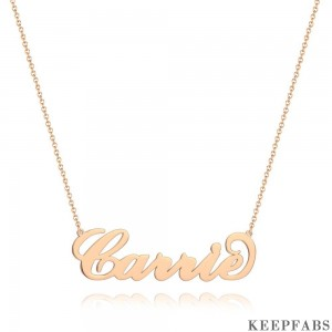 Personalized Large Name Necklace Rose Gold Plated