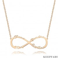 Ponalized Infinity Four Name Necklace Copper in Rose Gold Plated Z901562913056