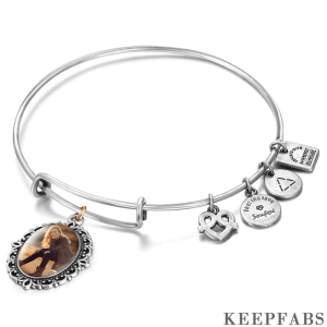 Complete Oval Photo Charm Bangle Special Alloy