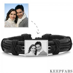 Photo Bracelet, Keepsake Gift Black Leather Square-shaped Platinum Plated Silver - Photocopying