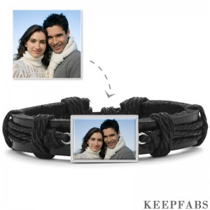 Photo Bracelet, Keepsake Gift Black Leather Square-shaped