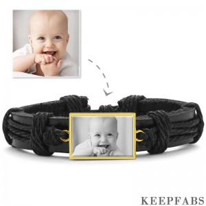 Photo Bracelet, Keepsake Gift Black Leather Square-shaped 14K Plated Gold Golden - Photocopying