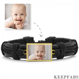 Photo Bracelet, Keepsake Gift Black Leather Square-shaped 14K Plated Gold Golden - Colorful