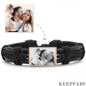 Photo Bracelet, Keepsake Gift Black Leather Square-shaped Rose Gold Plated - Photocopying