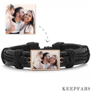 Photo Bracelet, Keepsake Gift Black Leather Square-shaped Rose Gold Plated - Colorful