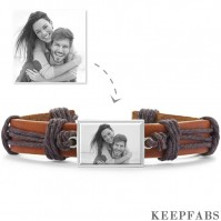 Photo Bracelet, Unique Gift Brown Leather Square-shaped Platinum Plated Silver - Photocopying