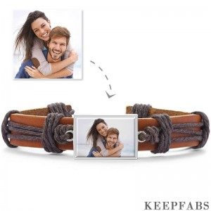 Photo Bracelet, Unique Gift Brown Leather Square-shaped Platinum Plated Silver - Colorful