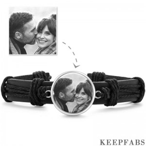 Photo Bracelet, Keepsake Gift Black Leather Round-shaped Platinum Plated Silver - Photocopying