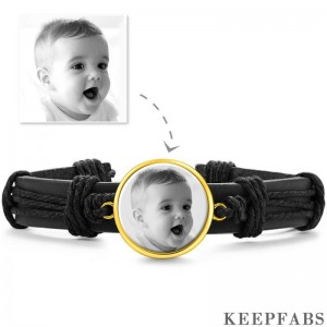 Photo Bracelet, Keepsake Gift Black LeatherRound-shaped 14K Plated Gold Golden - Photocopying