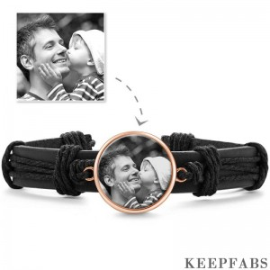 Photo Bracelet, Keepsake Gift Black Leather Round-shaped Rose Gold Plated - Photocopying