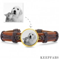 Photo Bracelet, Unique Gift Brown Leather Square-shaped 14K Plated Gold Golden - Photocopying