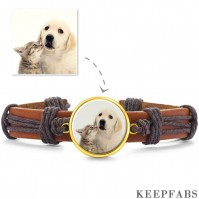Photo Bracelet, Keepsake Gift Brown Leather Square-shaped 14K Plated Gold Golden - Colorful
