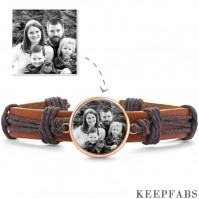 Photo Bracelet, Keepsake Gift Brown Leather Square-shaped Rose Gold Plated - Photocopying