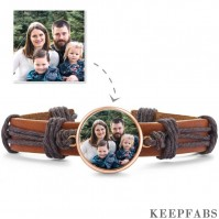 Photo Bracelet, Keepsake Gift Brown Leather Square-shaped Rose Gold Plated - Colorful