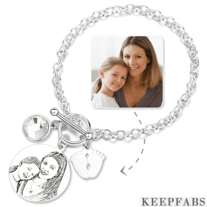 Women's Photo Engraved Tag Bracelet with Engraving Silver