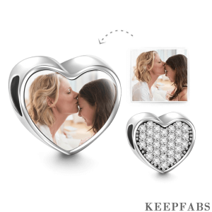 Pave CZ Heart Photo Charm