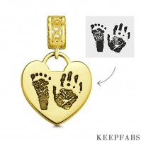 Photo Charm with Child's Footprint, Remembrance Jewelry 14K Gold Plated - Golden