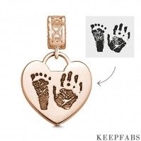 Photo Charm with Child's Footprint, Remembrance Jewelry Rose Gold Plated